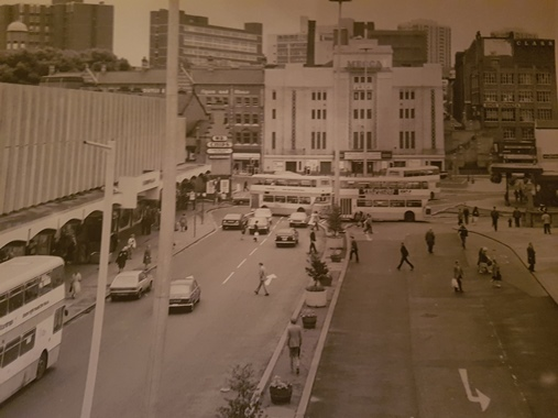 Mecca Bingo Facade in the early 1980's with The Chestergate public house opposite The Plaza renamed 'Mr Chips'