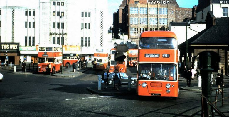 Classic orange livery on local buses at the Bus Terminus outside The Plaza with the last PLAZA signage prior to our change to Mecca