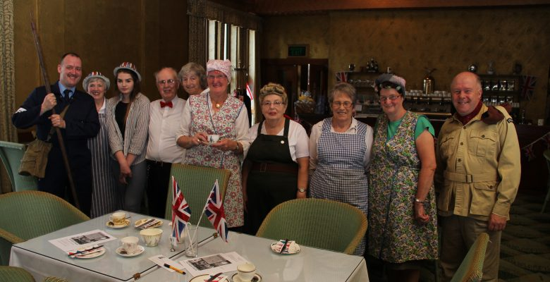 The Plazarettes ready to welcome guests at our 'Everything Stops for Dad's Army Tea' Fundraising Event- 24.07.16