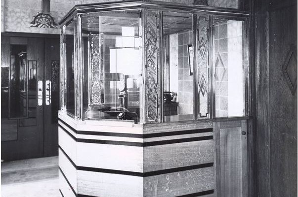 Main foyer pay box photographed from the entrance to the Circle Foyer on opening day - October 7th 1932