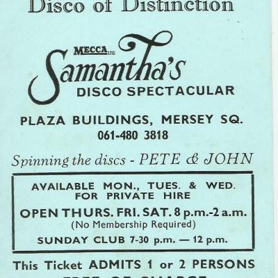Samantha's Discotheque Flyer for Thursday 18th January 1973 advertising the perfect night out in Stockport