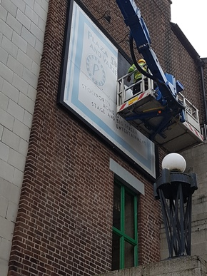 Removal of first panel old sign