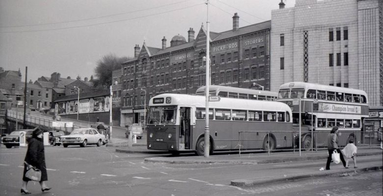 Regional buses heading off from the terminus outside The Plaza during her Mecca Bingo days