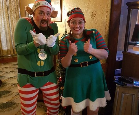 The Happy Elves ready for Breakfast with Santa