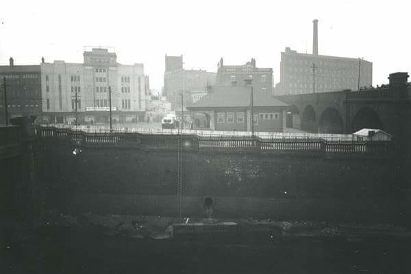 The Plaza and Bus Terminus Building on the horizon prior to the River Mersey being covered.