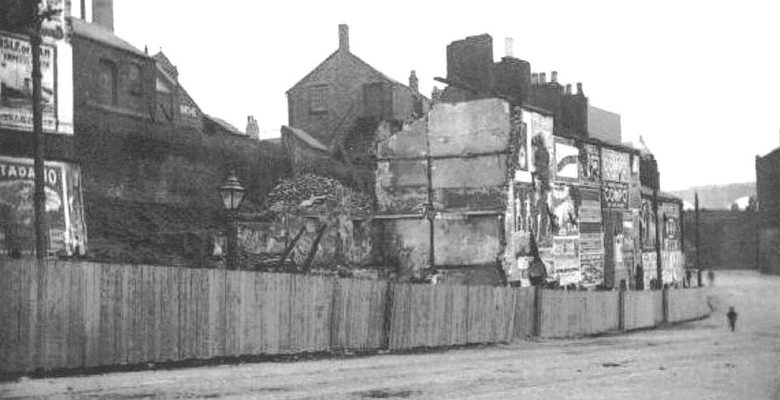 The 'Cottages' on Rock Row being demolished to make way for the buidling of The Plaza