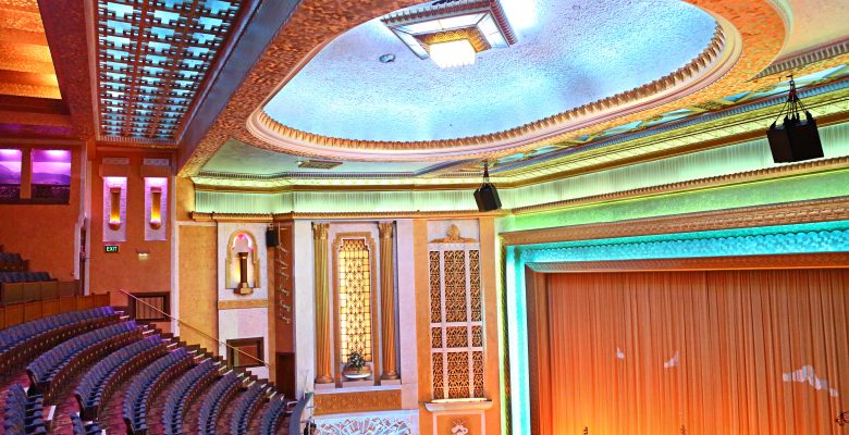 Plaza Auditorium following the restoration of the side murals depicting musical instruments