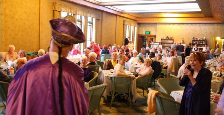 Isabel Duncan entertaining our wonderful audience at 'Everything Stops for Plaza Birthday Tea'