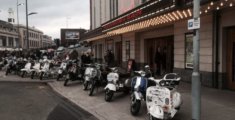 Scooters in position at film screening of Quadrophenia - 19.06.15