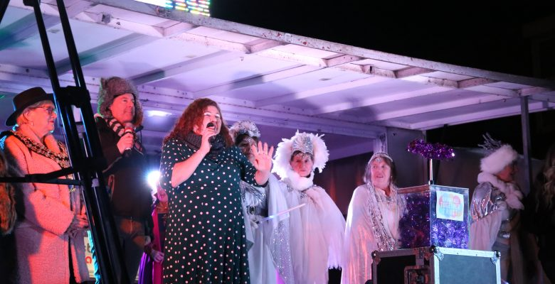 Cheryl Fergison and the Panto Plazarettes switching on the Bramhall Christmas Lights - 01.12.19