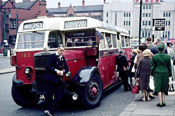 All aboard the Route 75X to Stockport Green End from the Mersey Square Bus Terminus