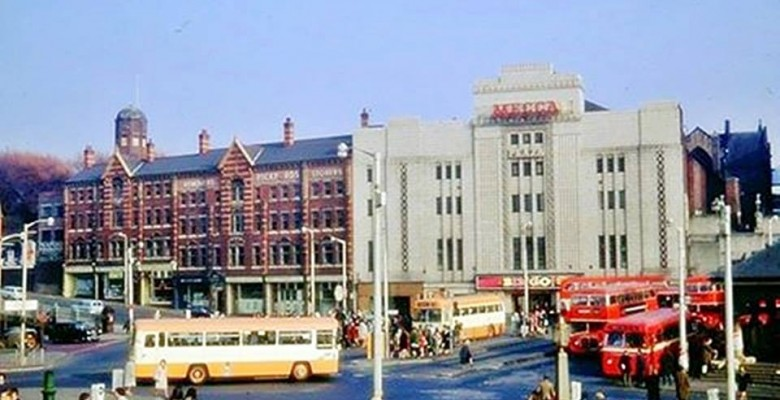 The Plaza trading as Mecca Bingo with bus terminus on Mersey Square