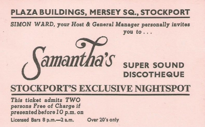 Samanthas Discotheque complementary admission ticket