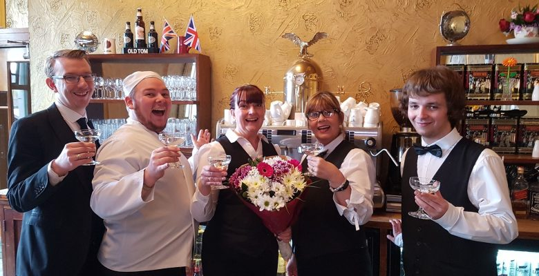 A resounding Huzzah to celebrate Tracy's promotion to the position of Floorwalker in the Plaza Cafe - 13.04.19