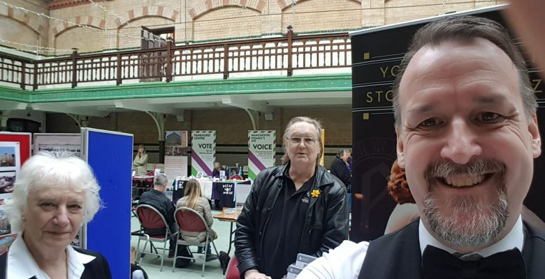 Teddie, Everlyn and Roy flying the flag for The Plaza at The Victoria Baths Open Day Event - 08.04.18