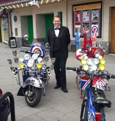 'Pin Up' Pete alongside Quadrophenia Scooters - 19.06.15