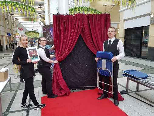 The Magnificent Plaza Team setting up for the Plaza Showcase event in Merseyway Shopping Centre
