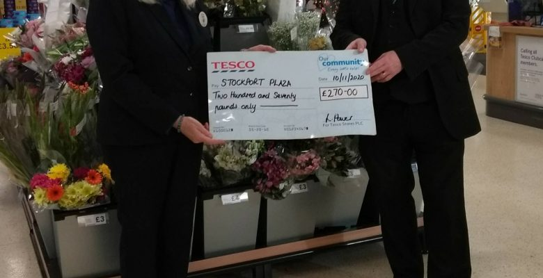 Ted Doan - Plaza General Manager recieves a very generous donation from Tesco Extra who hosted a Fundraising Book Stall for The Plaza raising £270 for our Art Deco gem during Lockdown - 10.11.20